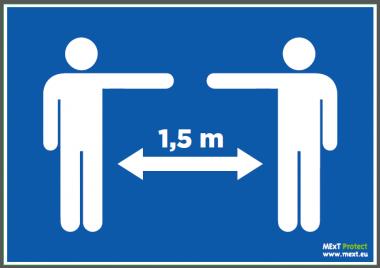 Autocollant mur A4 personnes Covid-19 1,5m (6 pièces)